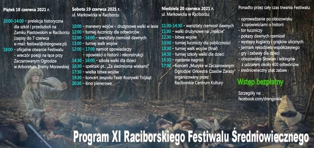 Oto program 11. Raciborskiego Festiwalu Średniowiecznego.