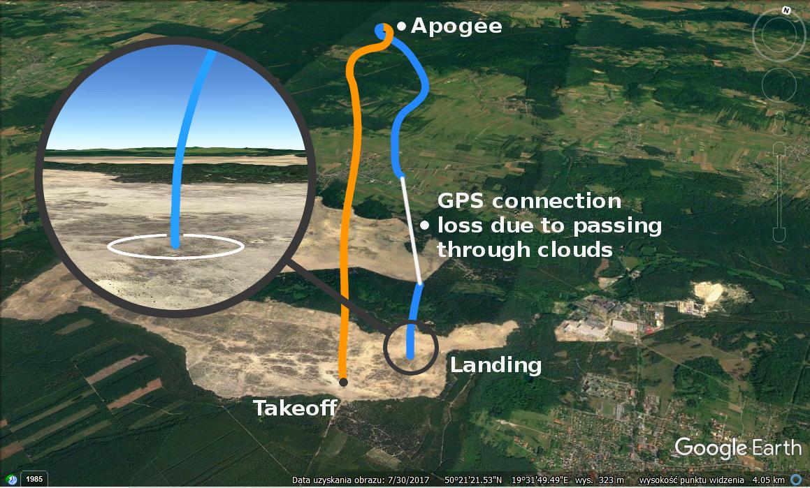 """Tor lotu rakiety i CanSata, który stworzyli uczniowie raciborskiego """"Mechanika"""" na podstawie danych z modułu GPS oraz wysokości obliczonej ze wzoru barometrycznego."""